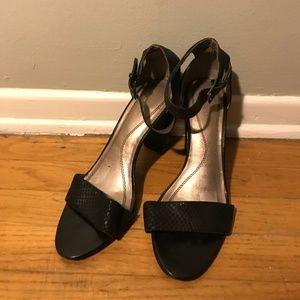Tahari Ankle Strap Black Heels open toe size 8.5